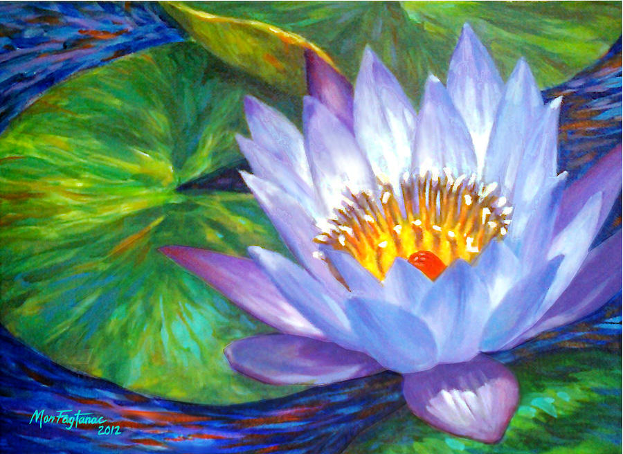 Lavender Lotus Flower Painting By Mon Fagtanac
