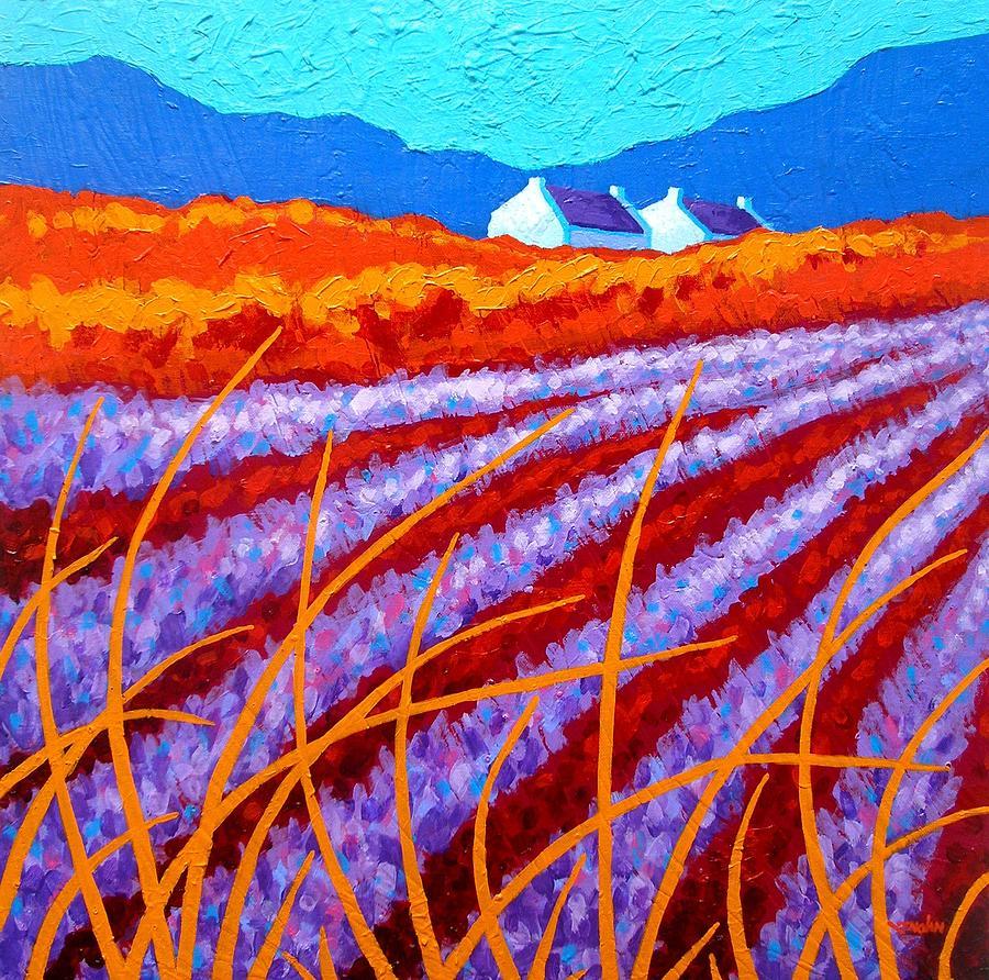 Satin Pillowcase Dublin: Lavender Meadow Painting By John Nolan