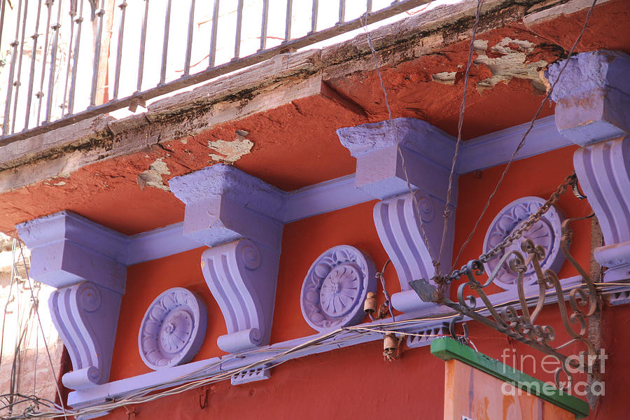 Architecture Photograph - Lavender Moulding Guanajuato by Linda Queally