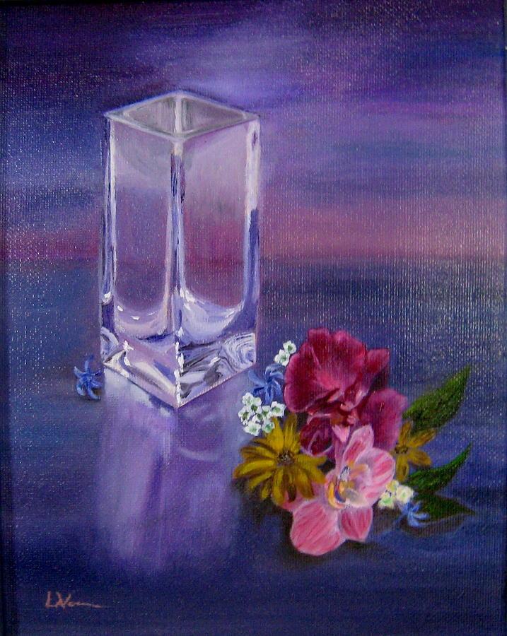 Lavender Painting - Lavender Vase by LaVonne Hand