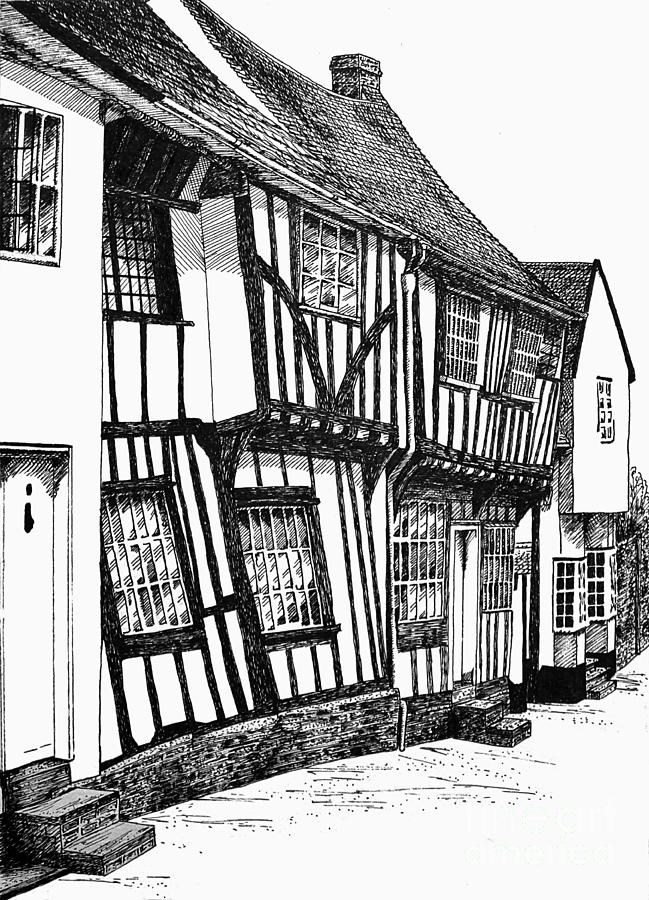 Ancient Drawing - Lavenham Timber by Shirley Miller