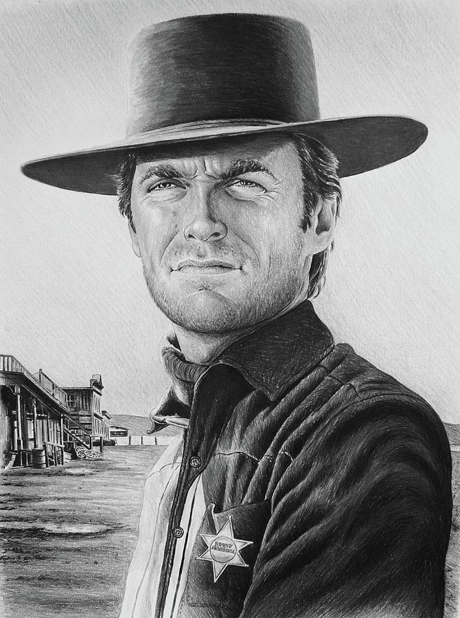 Clint Eastwood Painting - Law And Order Bw Version by Andrew Read