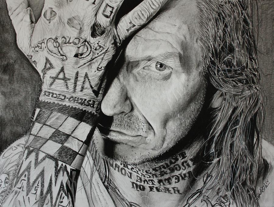 Indian Larry Drawing - Lawrence Desmedt by Joshua Navarra
