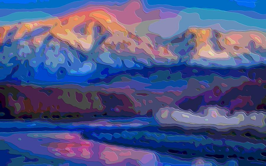 Landscape Digital Art - Layer Landscape Art Mountain Sunset by Mary Clanahan