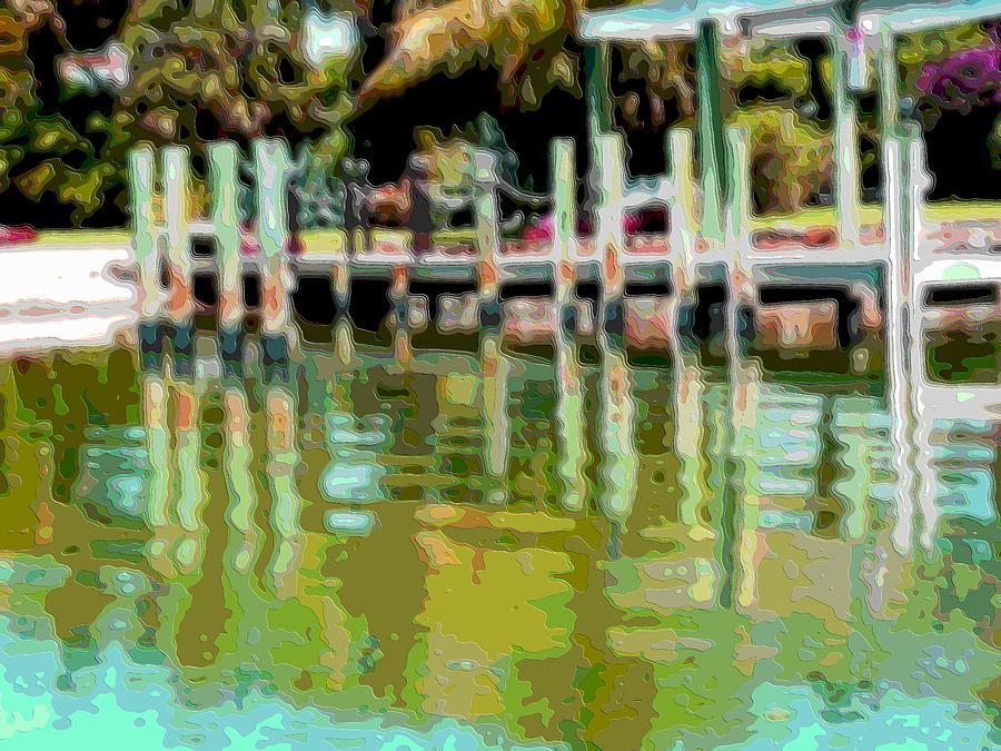 Landscape Digital Art - Layer Landscape Art Water Dock by Mary Clanahan