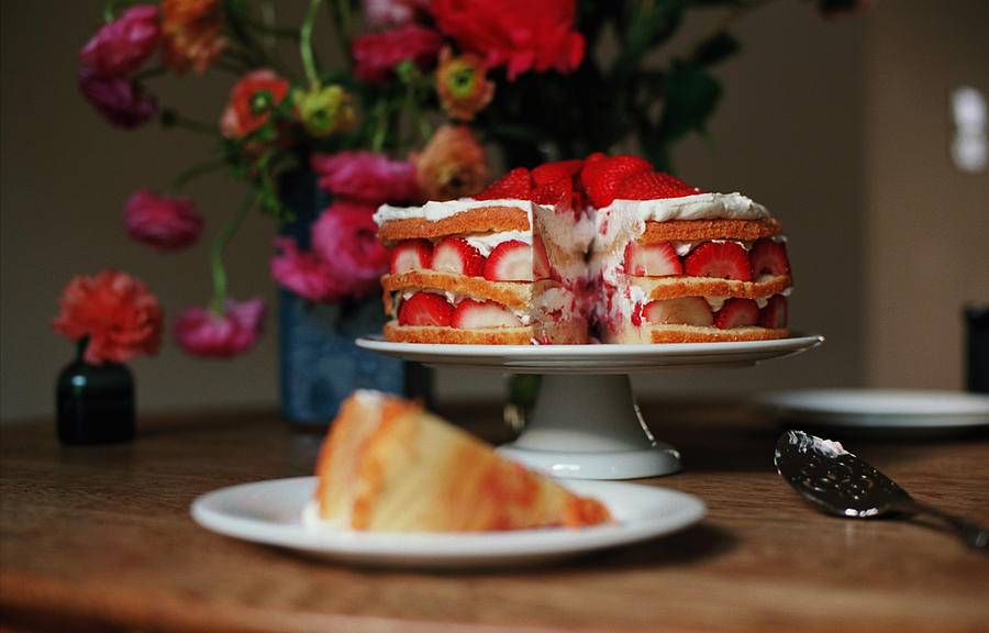 Layered Strawberry Cake With Background Photograph by Katie Baxter