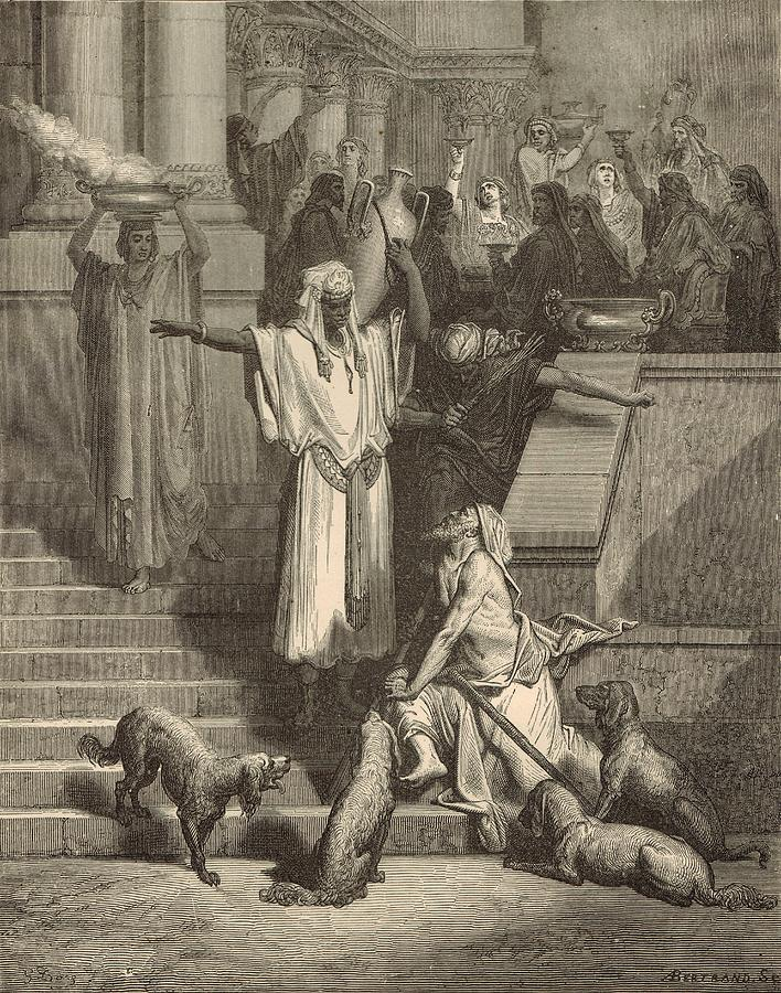 Biblical Drawing - Lazarus And The Rich Man by Antique Engravings