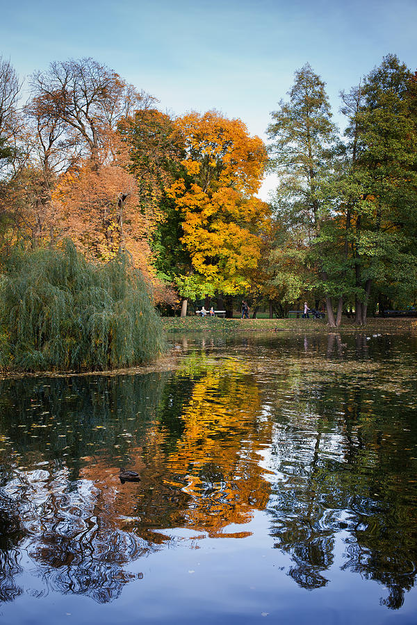Pond Photograph - Lazienki Park Autumn Scenery In Warsaw by Artur Bogacki