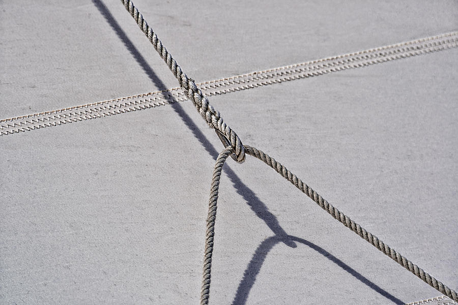Nautical Photograph - Lazy Jack-shadow And Sail by Marty Saccone
