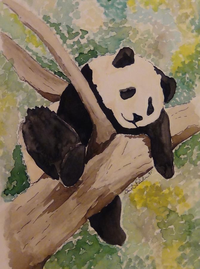 Lazy Panda Painting By Christina Parker Kilby