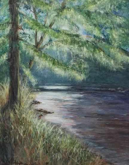 Stream Painting - Lazy River by Mary Lou Henne