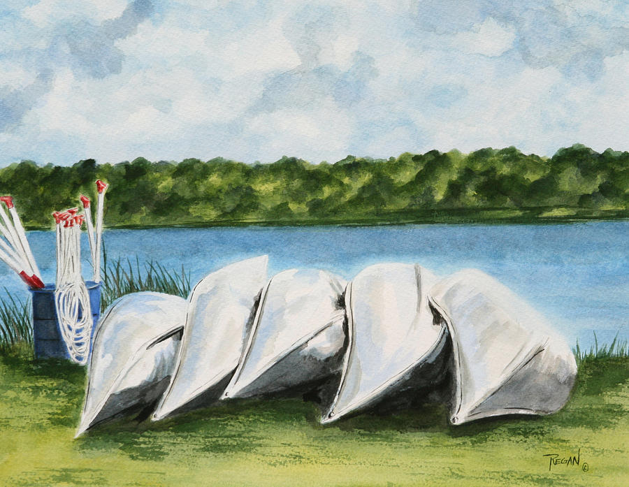 Canoes Painting - Lazy River by Regan J Smith