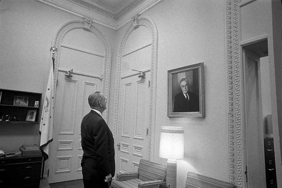 Lbj Photograph - Lbj Looking At Fdr by War Is Hell Store