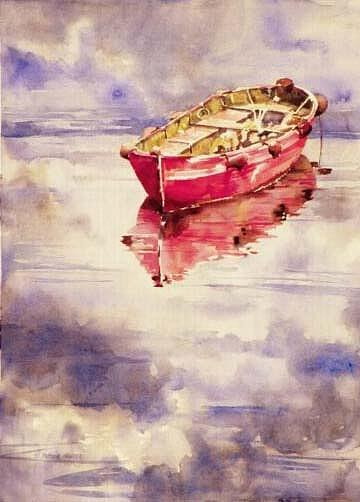 Boat Painting - Le Bateau Rouge by Patton Hunter