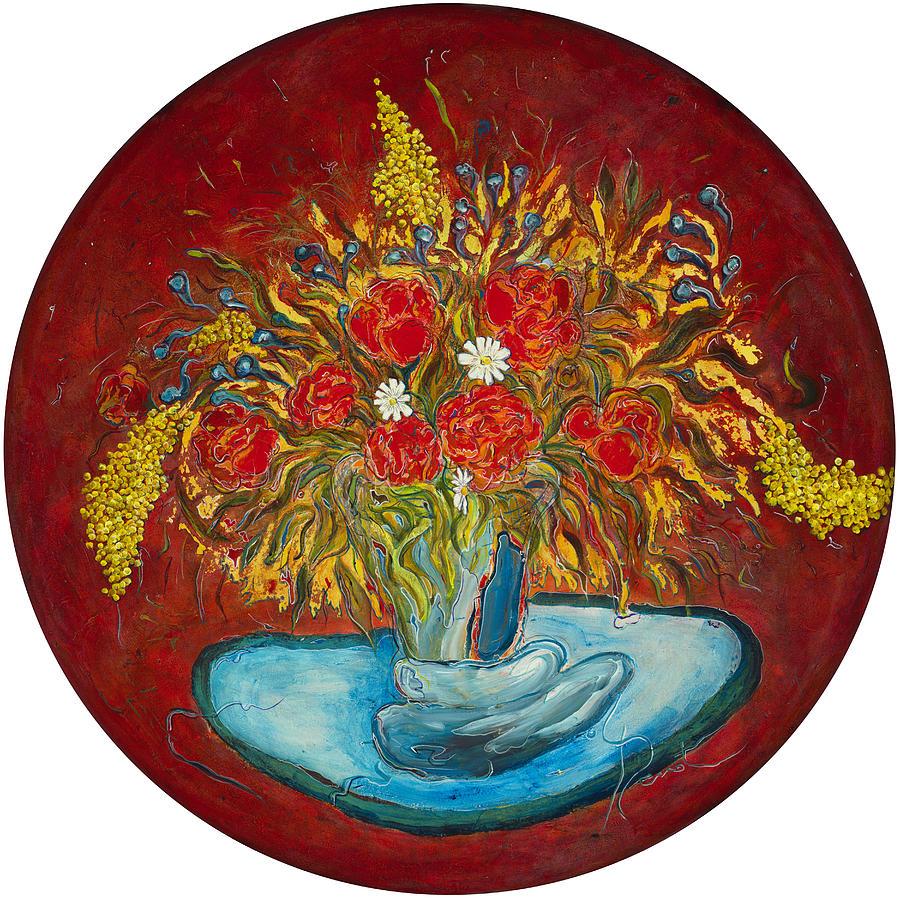 Bouquet Painting - Le Bouquet Rouge - Original For Sale by Bernard RENOT