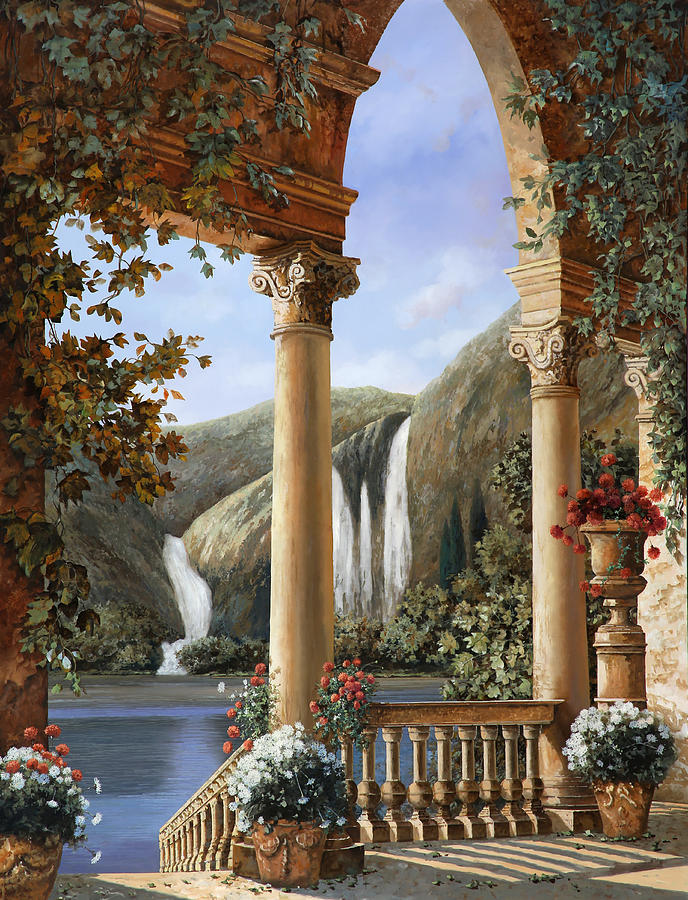 Water Fall Painting - Le Cascate by Guido Borelli