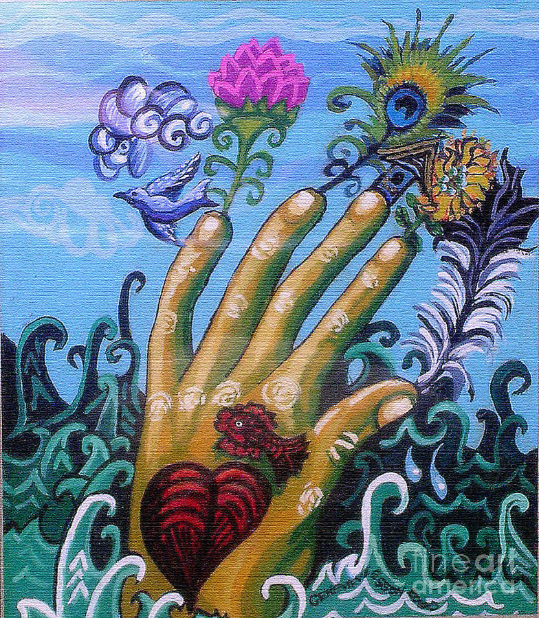 Hand Painting - Le Destin Du Humain by Genevieve Esson