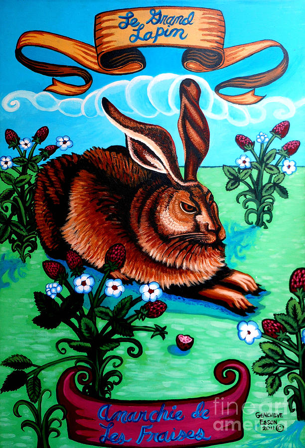Rabbit Painting - Le Grand Lapin Anarchie by Genevieve Esson