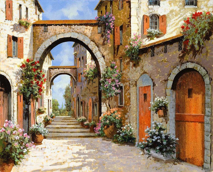 Landscape Painting - Le Porte Rosse Sulla Strada by Guido Borelli