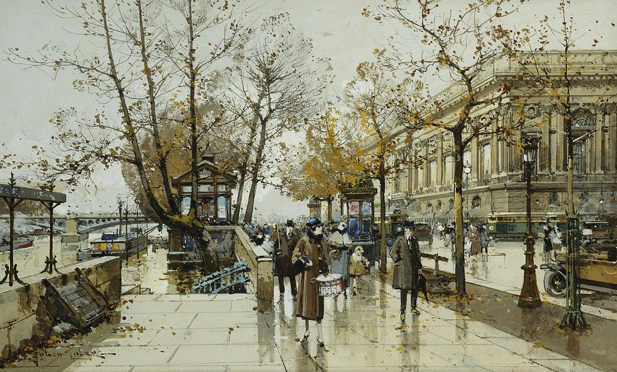 19th Century Painting - Le Quai De Louvre Paris by Eugene Galien-Laloue