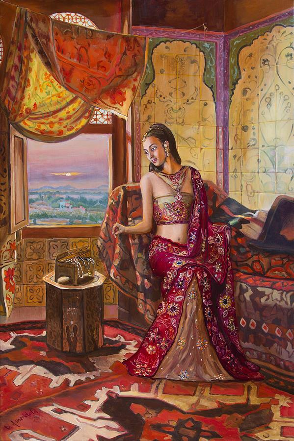Seated Painting - Le Rendez Vous De La Rani by Dominique Amendola