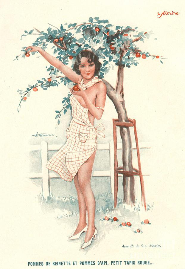 Le Sourire 1930s France Erotica Apples Drawing by The