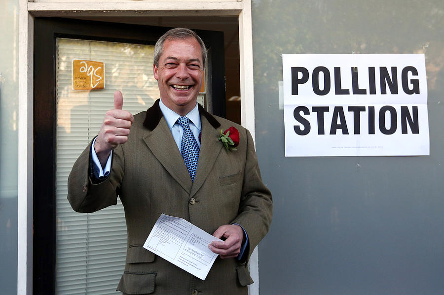 Leader Of UKIP, Nigel Farage, Casts His Vote As The UK Goes To The Polls Photograph by Carl Court