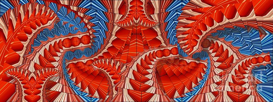 Abstract Digital Art - Leaf Pattern In Red by Ron Bissett
