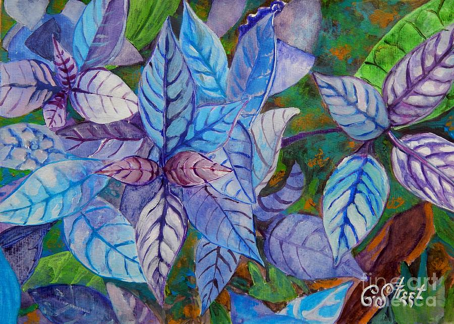 Leaves Painting - Leafy Blues by Caroline Street