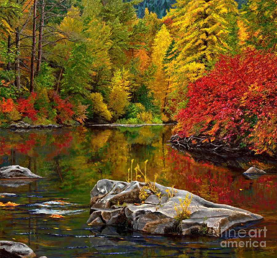 Autumn Leafy Lakefront by Jackie Case