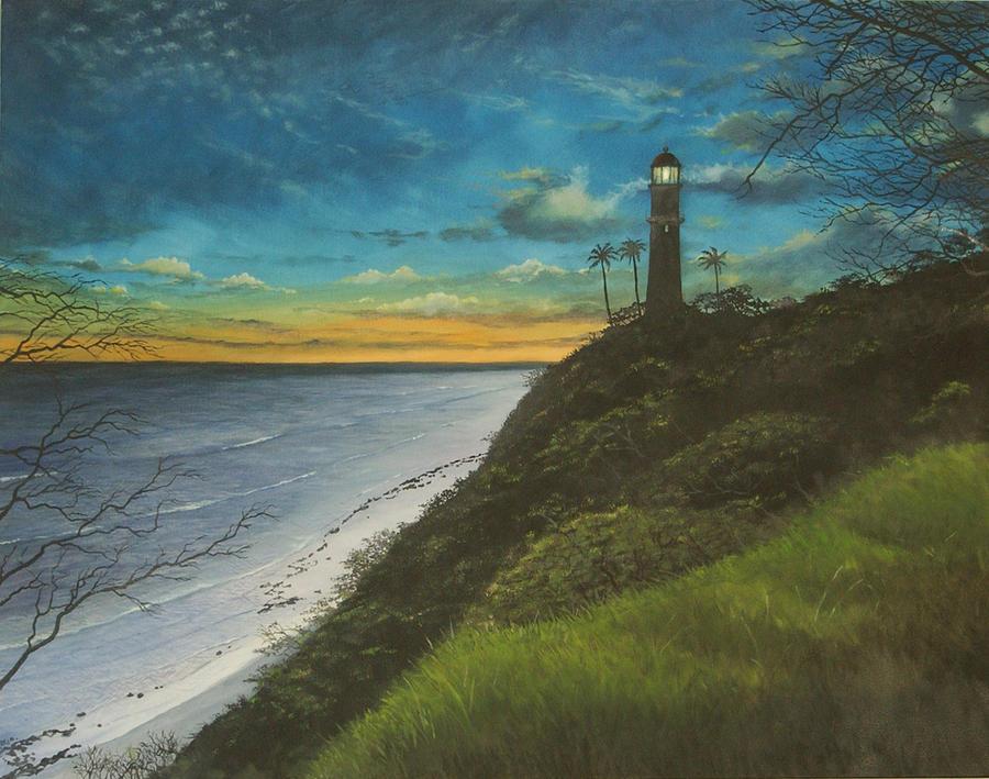 Oahu Painting - Leahi Lighthouse by Wallace Kong