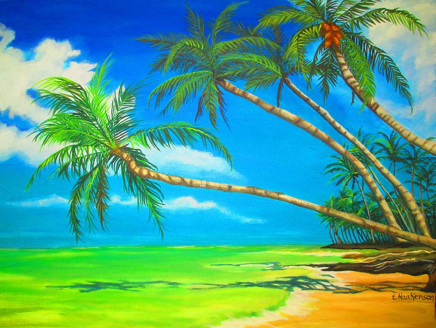 Leaning Palm Trees Painting By Elaine Haakenson