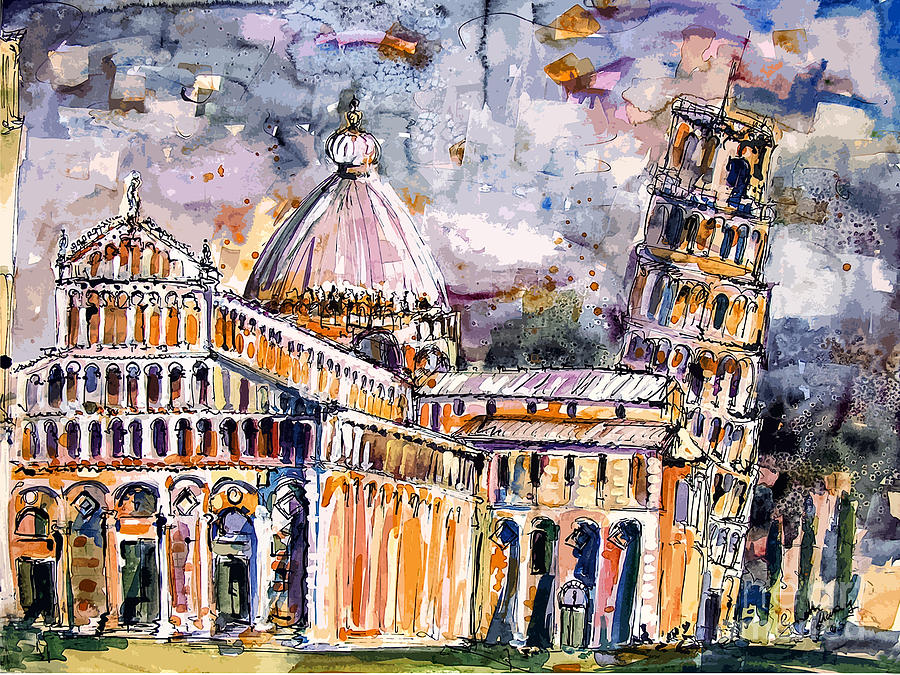 Italy Painting - Leaning Tower Of Pisa Italy  by Ginette Callaway