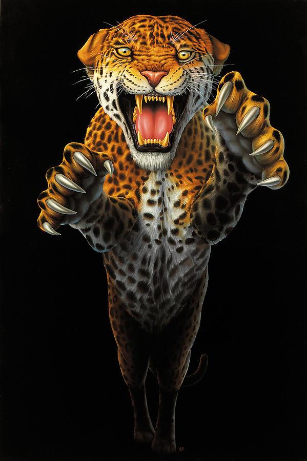 Leaping Leopard Painting By Steve Bridger
