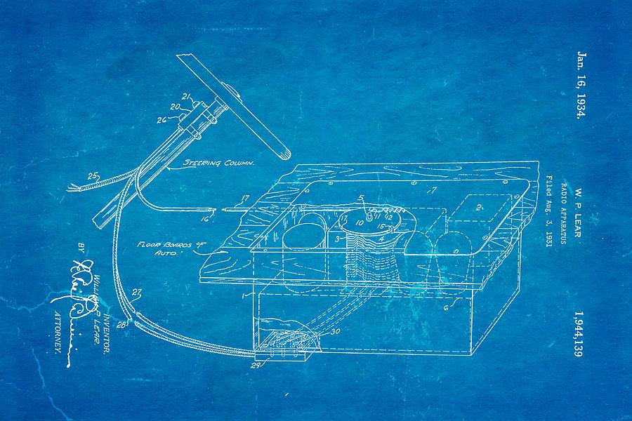 Lear motorola car radio patent art 1934 blueprint photograph by ian monk automotive photograph lear motorola car radio patent art 1934 blueprint by ian monk malvernweather Gallery