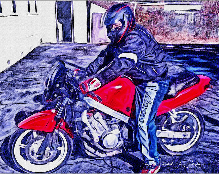 Riding A Motorcycle Painting - Learn How To Ride by Withintensity  Touch