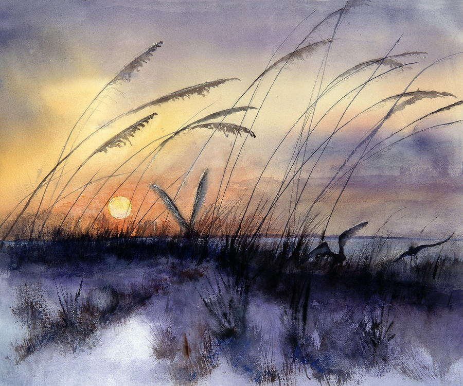 Seascape Painting - Least Terns by Bobby Walters
