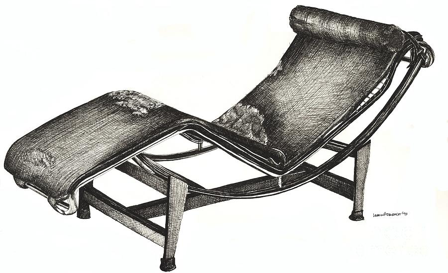 Chaise Longue Drawing - Leather Chaise Longue by Adendorff Design