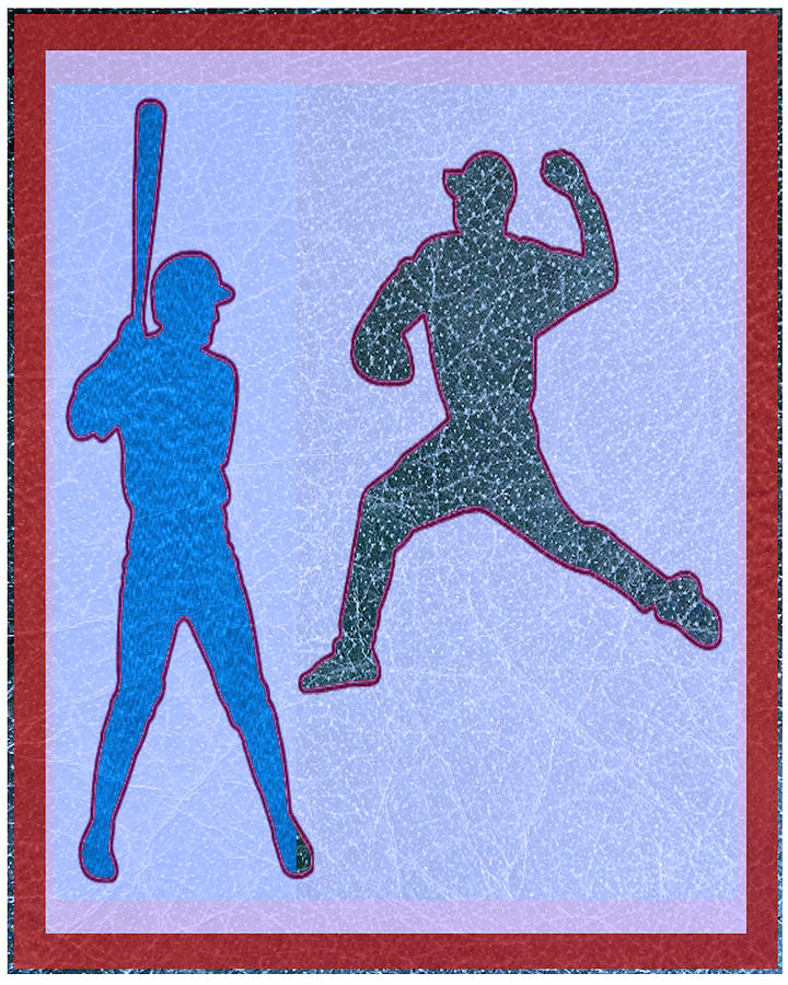 Leather Mixed Media - Leather Texture Art Bowler And Pitcher Base Ball Game Sports Competition by Navin Joshi