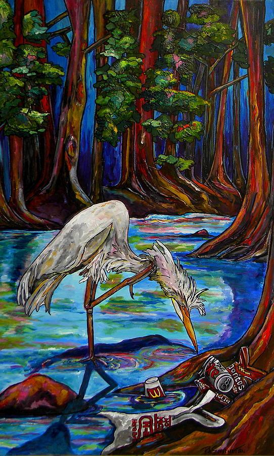 Egret Painting - Leave Only Footprints by Patti Schermerhorn