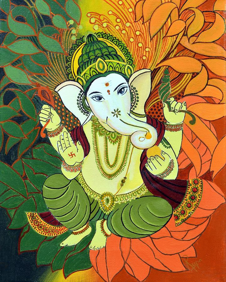 Leaves ganesha painting by rupa prakash for Mural art of ganesha