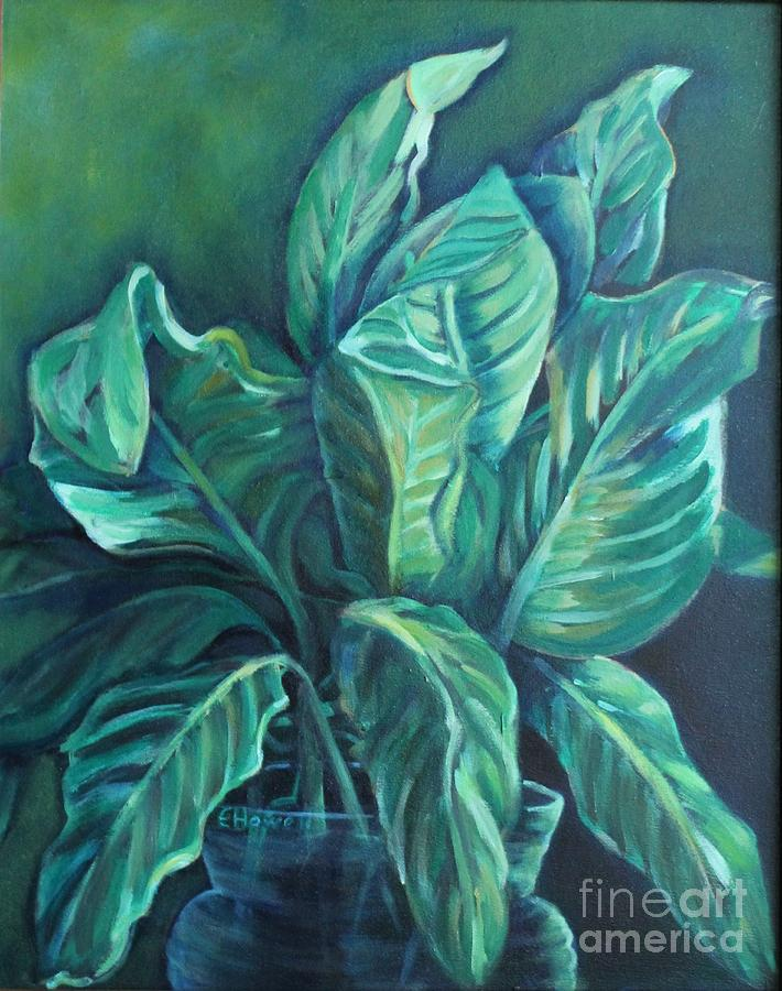 Green Painting - Leaves In A Vase by Ellen Howell