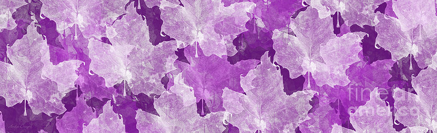 Leaf Digital Art - Leaves In Radiant Orchid Panorama by Andee Design
