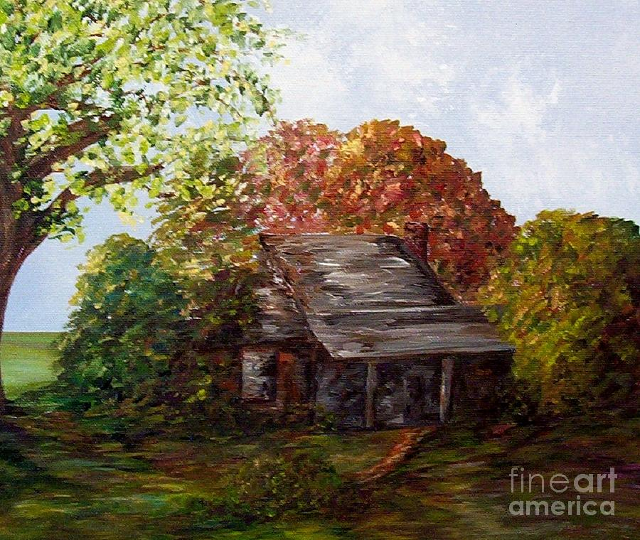 Log Painting - Leaves On The Cabin Roof by Eloise Schneider
