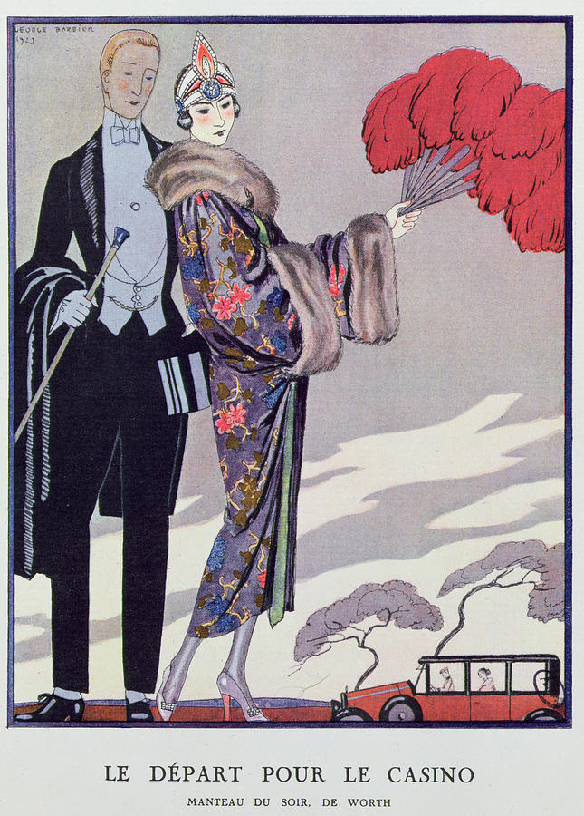Fur Painting - Leaving For The Casino by Georges Barbier