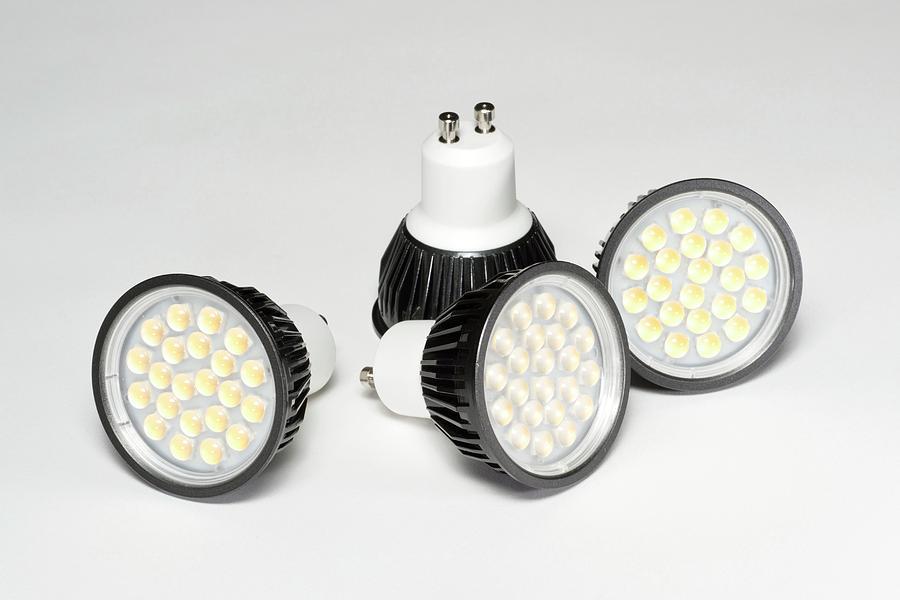 Bulb Photograph - Led Light Bulbs by Science Photo Library