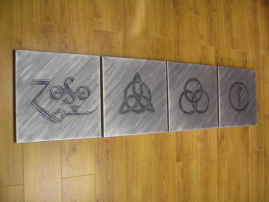 Led Zeppelin 4 Symbols Painting By Gary Burnie