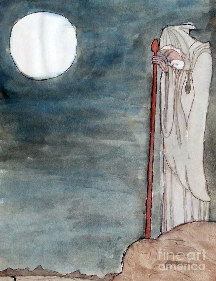 Wizard Painting - Led Zeppelin Inner Album Art by Angela Pelfrey
