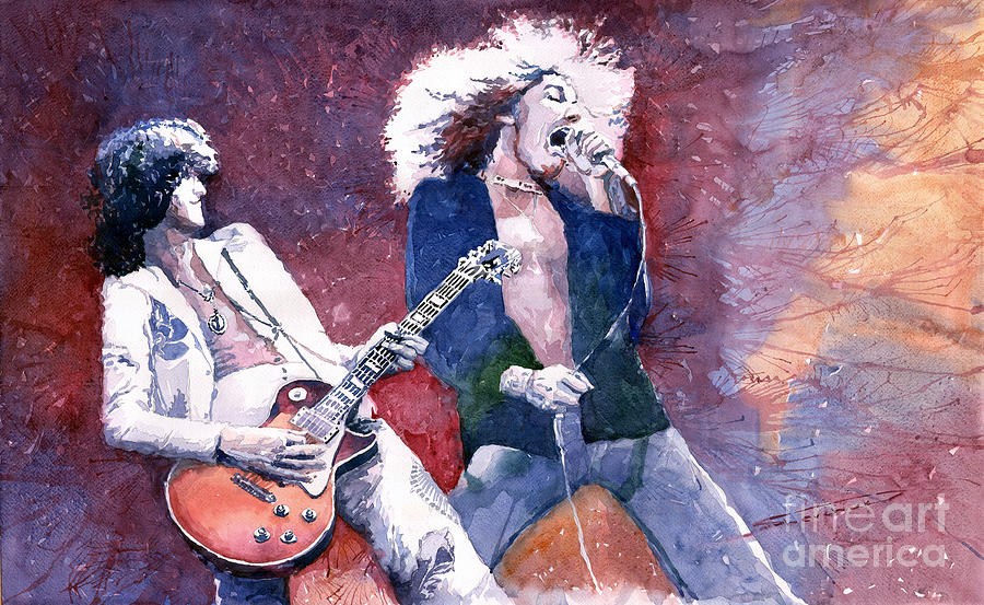 Watercolor Painting - Led Zeppelin Jimmi Page And Robert Plant  by Yuriy  Shevchuk