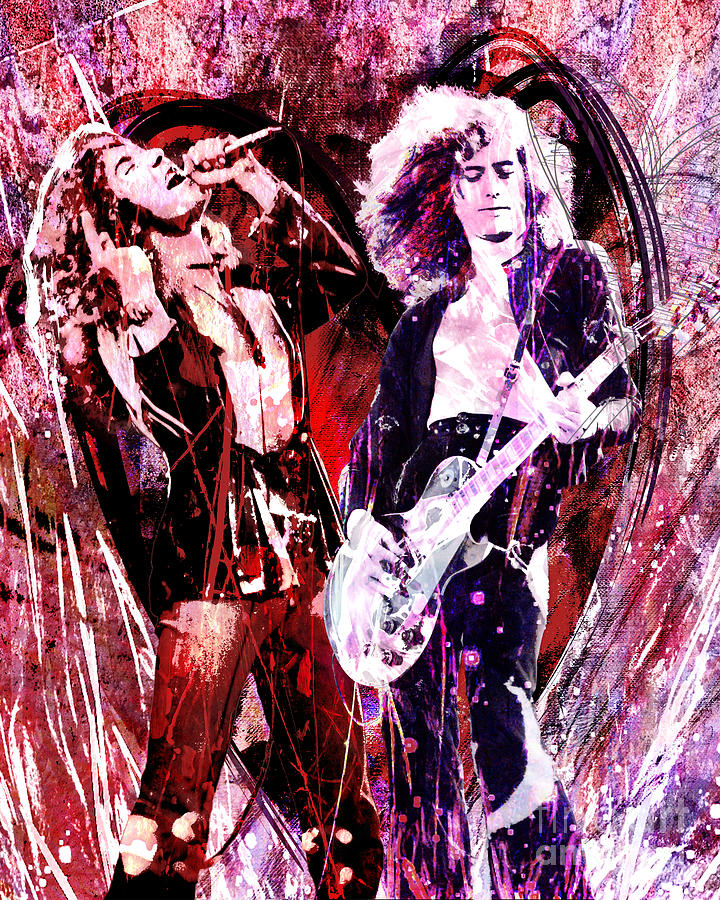 Band Painting - Led Zeppelin - Jimmy Page And Robert Plant by Ryan Rock Artist